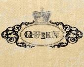 Queen Crown Royal Vintage Download Graphic Image Art Jpeg Transfer burlap tote tea towels Pillow royal English Gift Tag Digital Sheet 1059