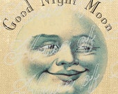 Moon face Halloween Man Vintage Download Graphic Image Art Jpeg Transfer burlap tote tea towels Pillow royal Gift Tag Digital Sheet 1075