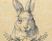 Rabbit Hare Animal Antique Vintage Download Graphic Image Art Transfer burlap tote tea towels Pillow French Gift Tag Digital Sheet 1079