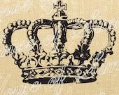 Crown Cross King Queen Royal Vintage Download Graphic Image Art Transfer burlap tote tea towels Pillow English Gift Tag Digital Sheet 1103