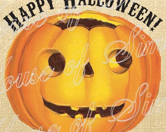 Happy Halloween pumpkin Vintage Download Graphic Image Art Jpeg Transfer burlap tote tea towels Pillow Gift Tag Digital Sheet 1101