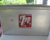 Vintage 1950's Aluminum 7 up cooler, made by Quality Cromstroms Service(reserved for ashleynicole44)