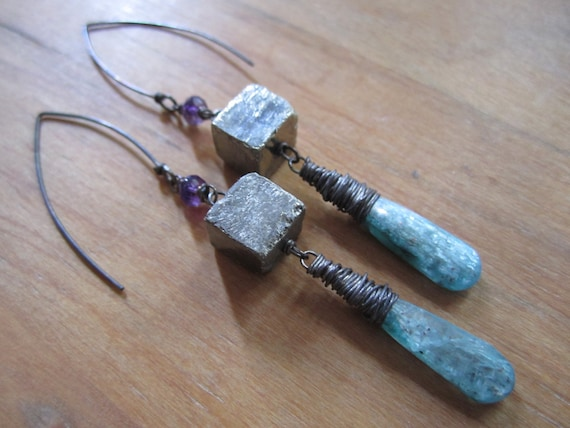 Dusk . Teal Kyanite, Pyrite and Amethyst Long Earrings