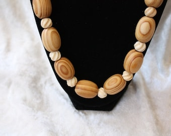 Sale- Intriguing One of a Kind Women's All Natural Wood Wooden Bead & Carved Bone Necklace- Birthday Gift Her Mom Mother Mum. Women Jewelry