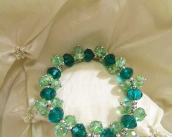 Sale- Sparkling Green Swarovski Two Tone Crystals Stretch Bracelet- Birthday Gift for Her Mother Teen. Wedding Prom Bridal Bride's Jewelry