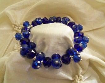 Sale- Gorgeous Sapphire Blue Swarovski Crystals Stretch Bracelet- Birthday Gift for Her Teen Preteen. Wedding Prom. Bride's Bridal Jewelry
