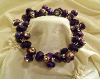 Sale - RARE Deep Purple & Gold Color Swarorvski Crystals Stretch Bracelet- Birthday Gift Her Mom Mother Teen. Prom Wedding Women's Jewelry
