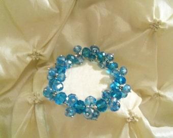 Women's Woman's Dazzling Deep Dark Turquoise Swarovski Crystals Stretch Bracelet- Birthday Gift Her Mom Mother Mum Teen Bride's. Jewellery