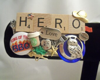 Sale- Appreciation Gift for Hard Working Guy- HERO Collage Display Brooch- Wear or Display. Birthday Gift Him Dad Father Husband Boyfriend