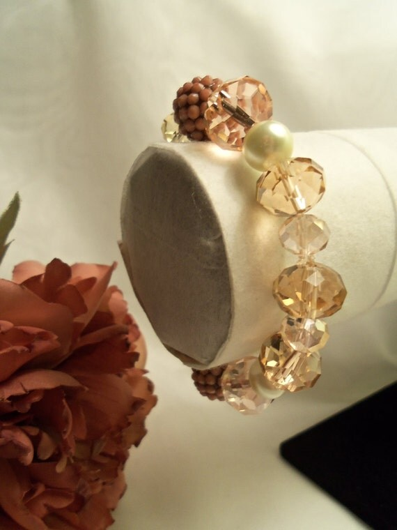 Sale- Unique One of a Kind Women's HandCrafted Peach Pink White Czech Crystals & Pearls Stretch Bracelet- Birthday Gift Her Teen Mom Mother
