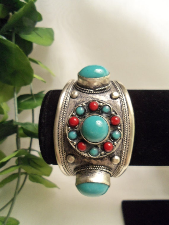 One of a Kind Turquoise & Red Coral Hammered Cuff Bracelet - Birthday Gift. Graduation Gift. Men's and Women's Jewelry. Teen Jewelry