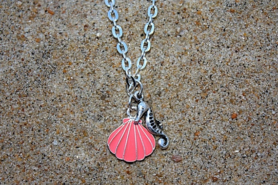 Seahorse & Shell Charm Necklace