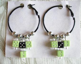 Hoop Earrings with Dice, Vegas Hotrod Style, Black n Green, Womens Earrings Handmade ON SALE