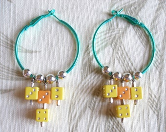 ON SALE  Hoop Earrings with Dice, Vegas Hotrod Style, Green, Yellow, Orange with Silver, Womens Earrings