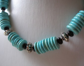 Handmade Turquoise Disc n Sterling Silver Necklace, Bali Sterling Silver, Womens Jewelry ON SALE