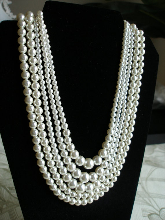 """Vintage Necklace Sarah Coventry Pearls, """"Contessa"""" Convertible 2, 3, or 5 Strands, Signed, 1966 Womens Jewelry"""