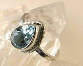 Blue Topaz Sterling Silver handcrafted Ring sz.81/4, blue  gem stone ring, one of kind