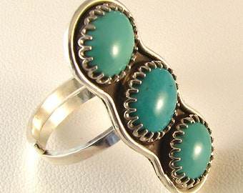 Authentic Genuine American Turquoise sterling adjustable ring,  handmade turquoise ring, OOAK