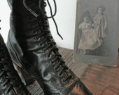 Victorian Lace Up Boots, Antique Leather