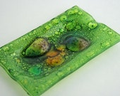 Fused Bubble Glass Green Ashtray