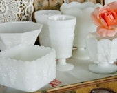 Grape/Winery Inspired Milk Glass Vase Collection