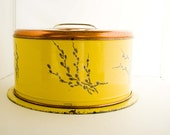 Vintage Yellow Tin Cake Taker with Copper Lid and Pussy Willows