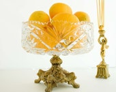 RESERVED : )  Vintage Cut Crystal Pedestal Footed Bowl