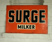 RESERVED for Ashley :)     Original Vintage Surge Milker Metal Dealer Sign