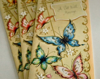 """Get Well Cards, Butterflies, by Sunshine Cards, 3 Cards, """" A Get Well Message"""""""
