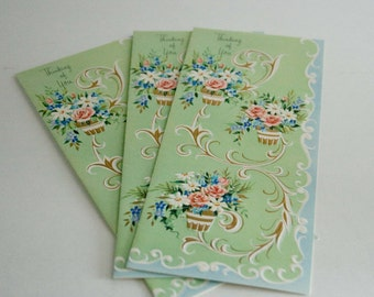 """Vintage Greeting Cards by Sunshine Cards, """"Thinking of You"""", Set of 3"""