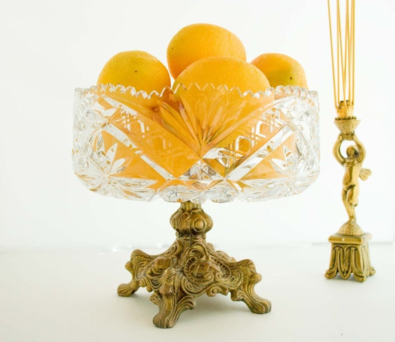 RESERVED : )  Vintage Cut Crystal Pedestal Footed Bowl