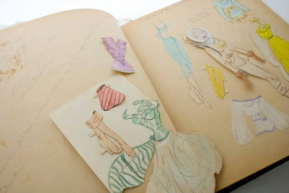 RESERVED FOR ALEX :) Original Artist Sketch Book Drawings of Mid Century Fashion and Cartoon Designs