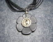 Silver and Black Flower Button Pendant Necklace