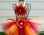 Virginia Tech Tutu. Orange Burgundy Flowers Ribbon. Matching Headband. Baby 0-3 Months