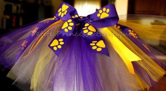 infant lsu tutu tiger paw print purple gold ribbon lsu