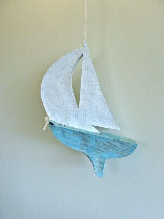 RESERVED FOR JESSICA Paper Sailboat Piñata (blue and white, party size)
