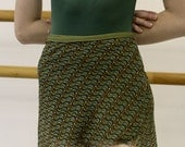 Classical Fit Ballet Wrap Skirt: Olive, Teal and Orange Dots and Waves