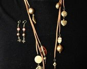 SALE: necklace Wood and glass gold and bronze bead and belt Caramel suede Leather-