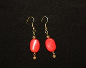 Earrings, red, orange and yellow glass bead 3 pairs
