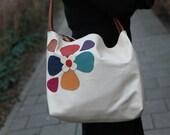 leather bag Creme  Cream, off-white with a flowery corner: Flower revolution handmade OOAK