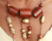 SALE: Tribal Necklace Large brown / gold wooden beads mixture on a leather string, Sahara Sunset