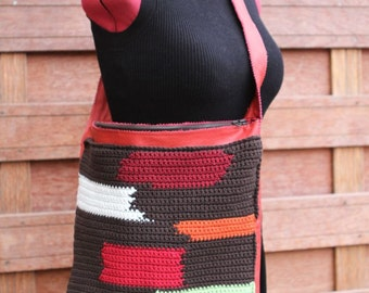 Patchwork n Leather. Boho patchwork shoulder bag. Cotton crochet with rusty red leather.