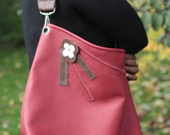 Leather handbag handmade Red  brown  with flower lining and a metal clasp ooak