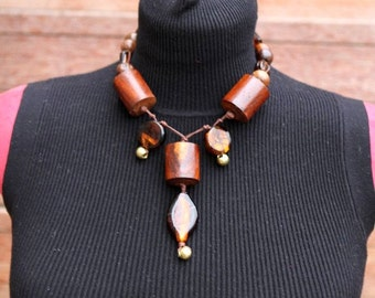Amber Alert - Handmade necklace, Wood and Glass beads SALE FROM 30 to 15 euros