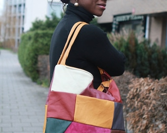 Genuine Leather patcwork bag / tote with colourful earthy coloured pieces of leather