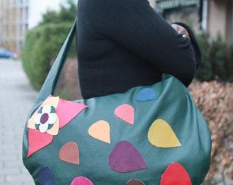 Big Leather bag: Green shopper / Canoe , handmade, OOAK, Garden of love N fire