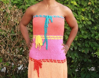crochet dress summer colourful hot pink, orange, salmon and baby pink cotton yarn vintage style, beach wear - Summer Love