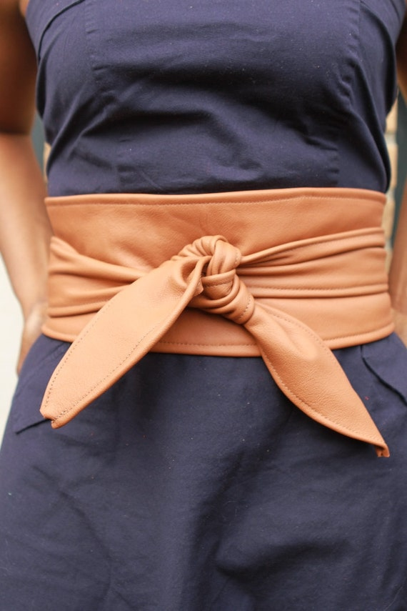 Wide Caramel Leather belt, Handmade Waist Cincher