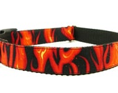 Cute Dog Collar featuring Flames on Black - Hot Rod