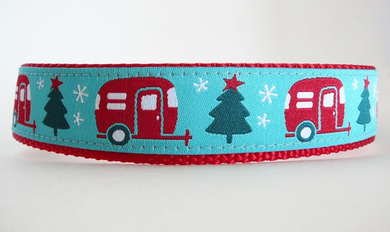 Cyber Monday FREE SHIPPING Christmas Dog Collar (1 inch wide) - Santa's Camper